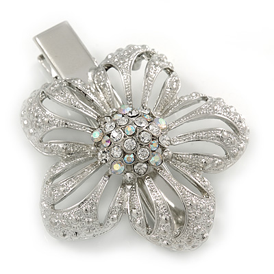 Clear Austrian Crystal Open Daisy Flower Hair Beak Clip/ Concord Clip/ Clamp Clip In Silver Tone - 60mm L