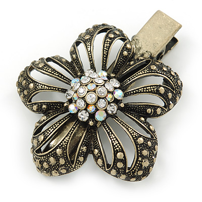 Vintage Inspired Clear Austrian Crystal Open Daisy Flower Hair Beak Clip/ Concord Clip/ Clamp Clip In Bronze Tone - 60mm L