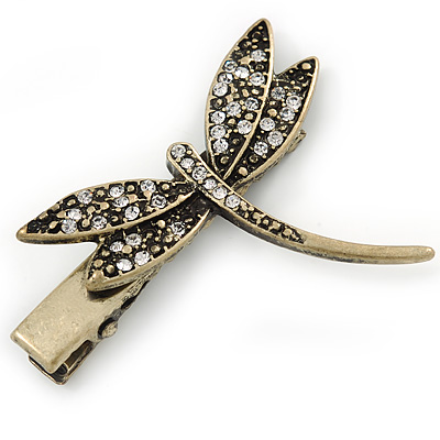 Vintage Inspired Clear Crystal Dragonfly Hair Beak Clip/ Concord Clip/ Clamp Clip In Bronze Tone - 55mm L