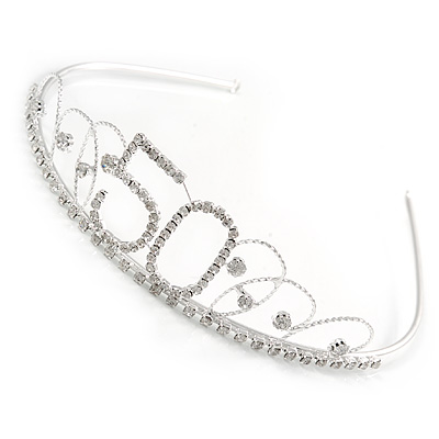 Bridal/ Wedding/ Prom Rhodium Plated Clear Crystal '50' Queen Classic Tiara