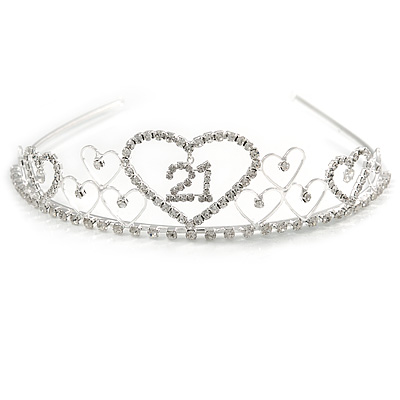 Bridal/ Wedding/ Prom Rhodium Plated Clear Crystal Open Heart '21' Princess Classic Tiara