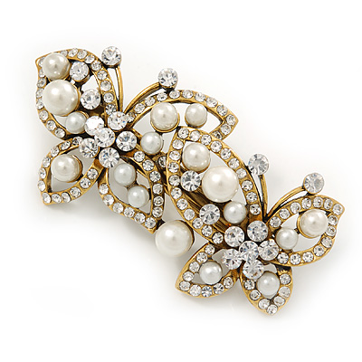 Avalaya Vintage Inspired Gold Tone, Clear Cz Floral Barrette Hair Clip Grip - 105mm Across
