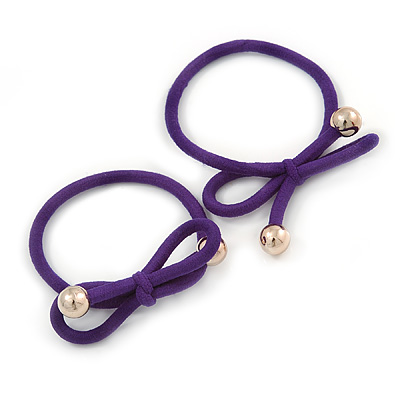 Two Piece Purple Bow with Gold Tone Bead Design Hair Elastic Set/ Ideal For School
