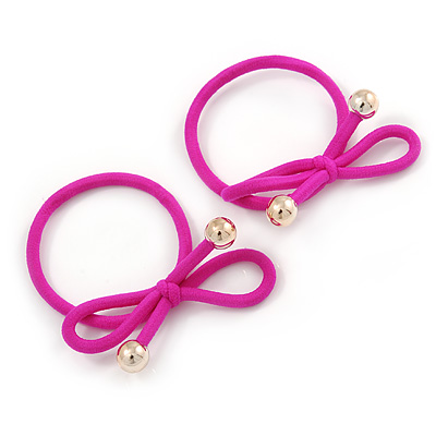 Two Piece Deep Pink Bow with Gold Tone Bead Design Hair Elastic Set/ Ideal For School