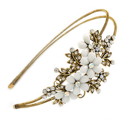 Vintage Inspired Bridal/ Wedding/ Prom Antique Gold Tone Clear Crystal, White Acrylic Flowers Tiara Headband