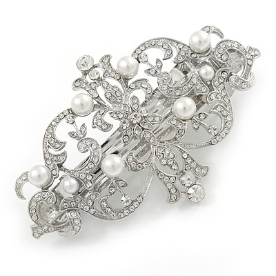 Avalaya Clear Crystal, Glass Pearl Open Assymetrical Heart Barrette Hair Clip Grip In Rhodium Plated Metal - 50mm Across