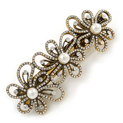 Avalaya Vintage Inspired Antique Gold Open Cut Clear Crystal, White Glass Pearl Barrette Hair Clip Grip - 85mm Across