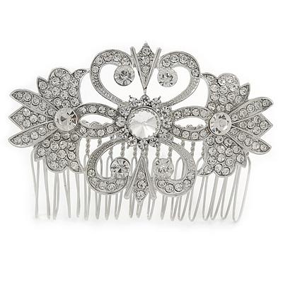 Bridal/ Wedding/ Prom/ Party Art Deco Style Rhodium Plated Austrian Crystal Hair Comb - 80mm W