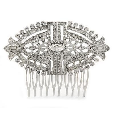Bridal/ Wedding/ Prom/ Party Art Deco Style Rhodium Plated Tone Austrian Crystal Hair Comb - 85mm W