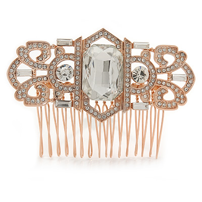 Bridal/ Wedding/ Prom/ Party Art Deco Style Rose Gold Tone Tone Austrian Crystal Hair Comb - 80mm W