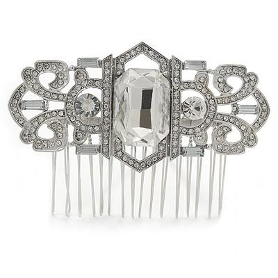 Bridal/ Wedding/ Prom/ Party Art Deco Style Rhodium Plated Tone Austrian Crystal Hair Comb - 80mm W