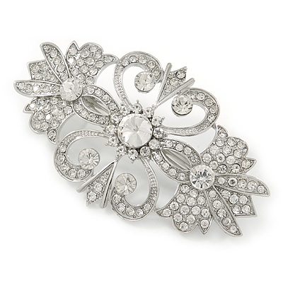 Bridal/ Wedding/ Prom/ Party Art Deco Style Rhodium Plated Austrian Crystal Barrette Hair Clip Grip - 80mm Across
