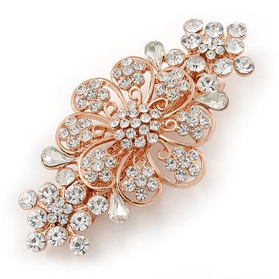 Avalaya Medium Silver Tone Filigree Diamante Floral Barrette Hair Clip Grip - 70mm Across puJlWtC