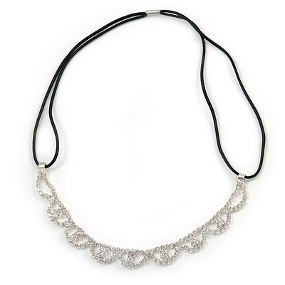 Fancy Pattern Clear Crystal Elastic Hair Band/ Elastic Band/ Headband - 50cm L (not stretched)
