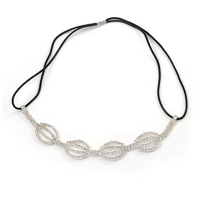Fancy Geometric Pattern Clear Crystal Elastic Hair Band/ Elastic Band/ Headband - 50cm L (not stretched)