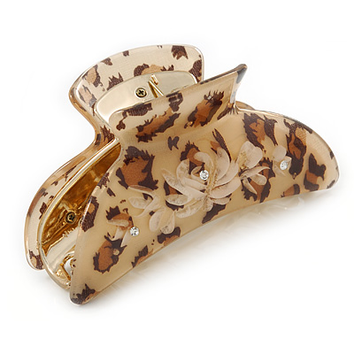 Large Gold Tone Animal Print Acrylic Hair Claw/ Clamp (Brown/ Beige) - 95mm Long