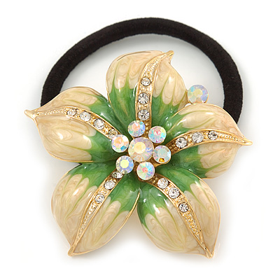 Gold Tone Beige/ Green Enamel, Crystal 'Daisy Flower' Pony Tail Hair Elastic/Bobble