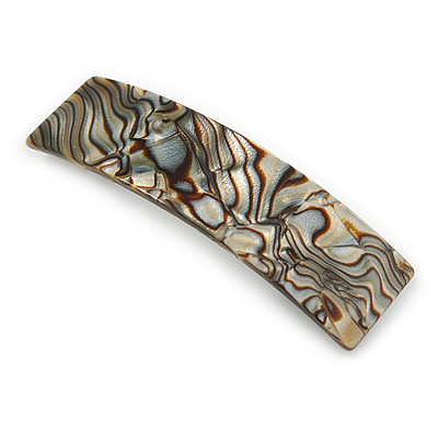 Large Mother Of Pearl Effect Acrylic Barrette Hair Clip Grip (Silver/ Grey/ Brown) - 105mm Across