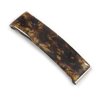 'Clic Clic' Stylish Brown Floral Print Hair Slide/ Grip/ Hair Clip with Silver Tone Closure - 70mm Across