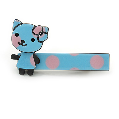 Children's/ Teen's / Kid's Light Blue/ Pink Kitty Acrylic Hair Beak Clip/ Concord Clip/ Clamp Clip In Silver Tone - 50mm L