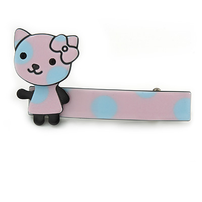 Children's/ Teen's / Kid's Pink/ Light Blue Kitty Acrylic Hair Beak Clip/ Concord Clip/ Clamp Clip In Silver Tone - 50mm L