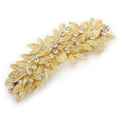 Bright Gold Tone Matt Diamante Leaf Barrette Hair Clip Grip - 80mm Across