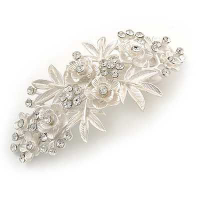 Large Bright Silver Tone Matt Diamante Rose Flower Barrette Hair Clip Grip - 95mm Across