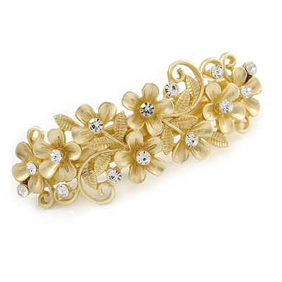 Bright Gold Tone Matt Diamante Daisy Flower Barrette Hair Clip Grip - 80mm Across