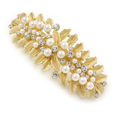 Large Bright Gold Tone Matt Diamante Faux Pearl Leaf Barrette Hair Clip Grip - 90mm Across