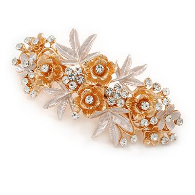 Large Two Tone Diamante Rose & Daisy Floral Barrette Hair Clip Grip (Rose Gold/ Matt Silver Tone) - 10cm Across