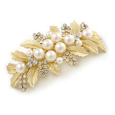Large Matte Gold Tone Diamante Faux Pearl Floral Barrette Hair Clip Grip - 90mm Across