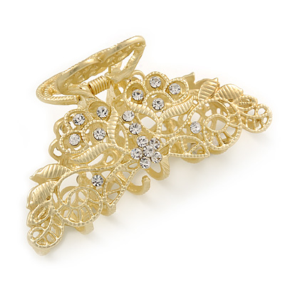 Medium Clear Crystal Floral Filigree Hair Claw In Matte Gold Tone - 75mm Across