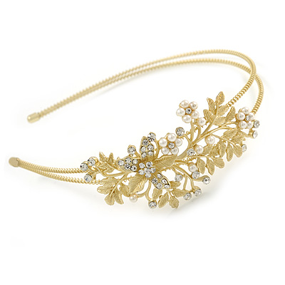 Avalaya Bridal/Wedding/Prom Gold Plated Clear Crystal, White Glass Flowers & Leaves Tiara Headband