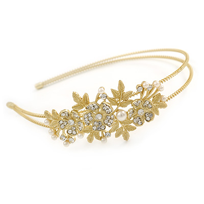 Avalaya Vintage Inspired Wedding/Prom/Bridal White Glass Pearl, Clear Crystal Tiara Headband In Gold Plated Metal