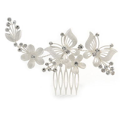 Large Crystal Flower and Butterfly Side Hair Comb In Matte Light Silver Tone - 11cm W