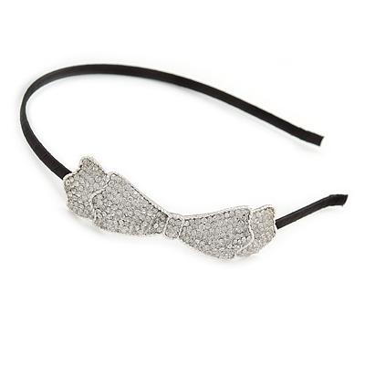 Party/ Prom/ Wedding Silver Tone with Black Silk Ribbon Clear Crystal Bow Tiara Headband - Flex