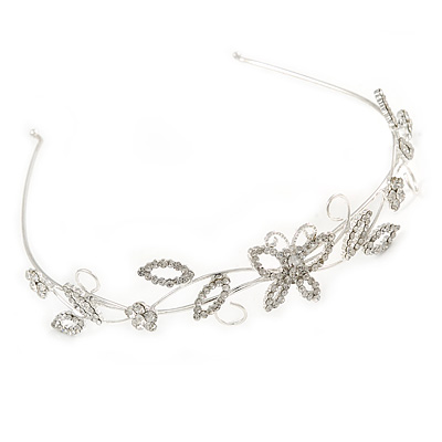 Statement Clear Crystal Butterfly and Flower Tiara Headband