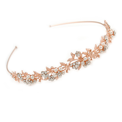 Bridal/ Wedding/ Prom Rose Gold Tone Clear Crystal, White Glass Flowers & Leaves Tiara Headband