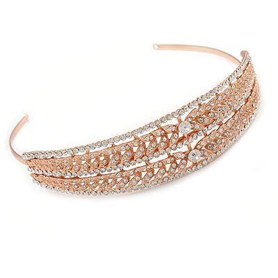Wide Bridal/ Wedding/ Prom Rose Gold Tone Clear Austrian Crystal Leaf Tiara Headband