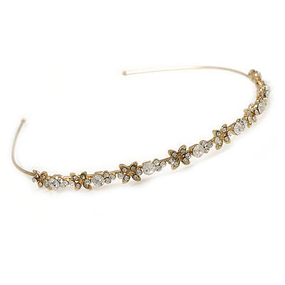 Bridal/ Wedding/ Prom Gold Plated Clear Crystal Butterfly Tiara Headband