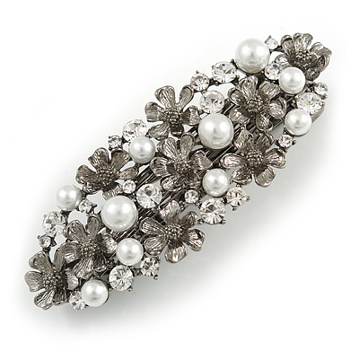Vintage Inspired White Faux Pearl, Clear Crystal Floral Barrette Hair Clip Grip In Gunmetal Finish - 85mm Across