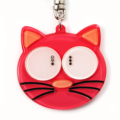 Plastic Funky Cat Key Ring/Handbag Charms (Pink) - main view
