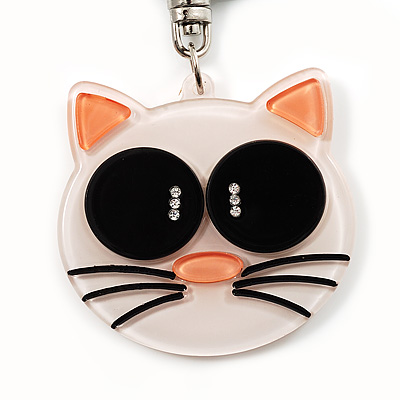 Plastic Funky Cat Key Ring/Handbag Charms (White and Black)