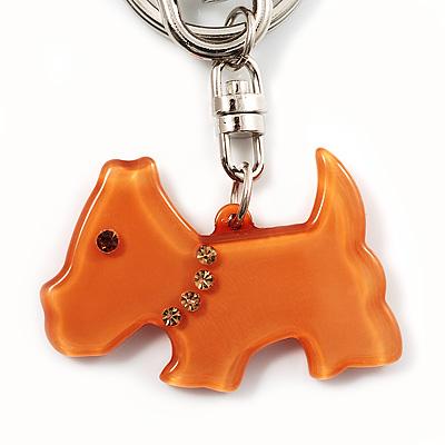 Brown Plastic Scottie Dog Keyring/ Handbag Charm