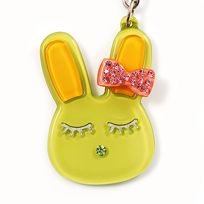 Cute Lettuce Green Plastic Bunny Key-Ring With Crystal Bow