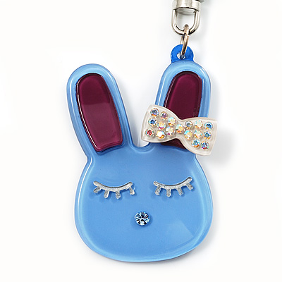 Cute Blue Plastic Bunny Key-Ring With Crystal Bow - main view