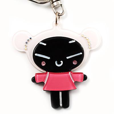 Black Plastic Japanese Girl Handbag Charm Key Chain