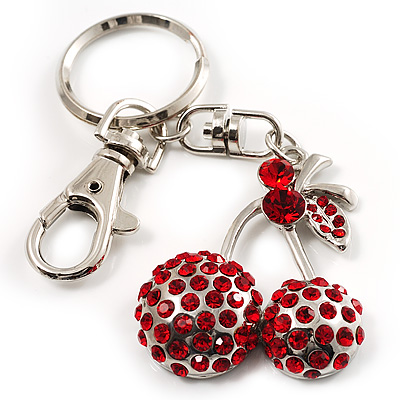 Ruby Red Diamante Cherry Keyring