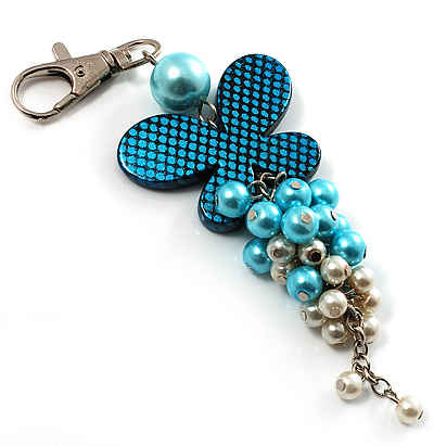 Silver Tone Butterfly Pearl Charm Keyring/ Bag Charm (Aqua &amp; White)
