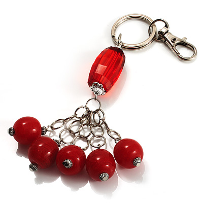 Silver Tone Ceramic Bead Charm Keyring/ Bag Charm (Coral Red)